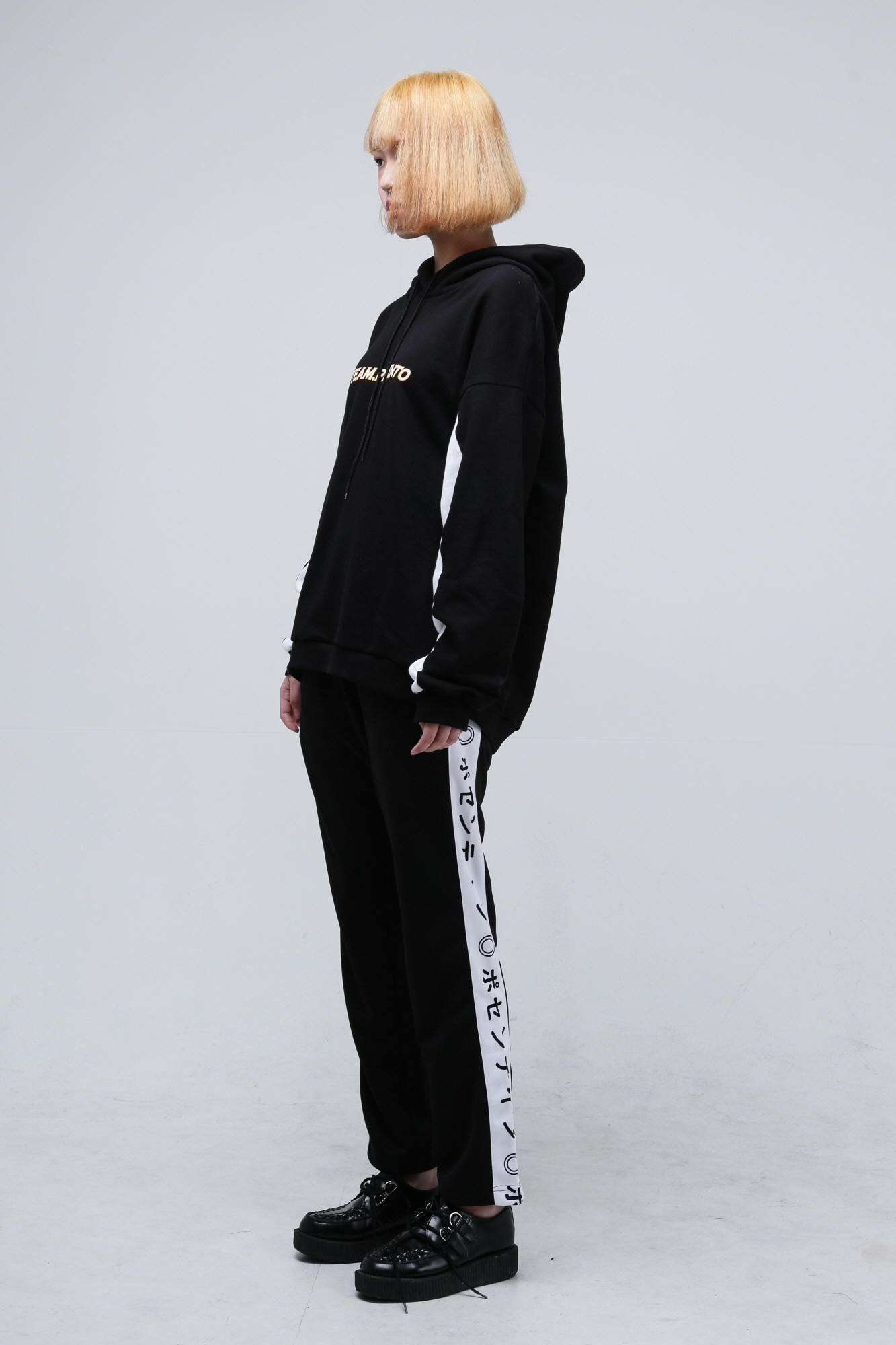 Japanese lettering pants White/Black