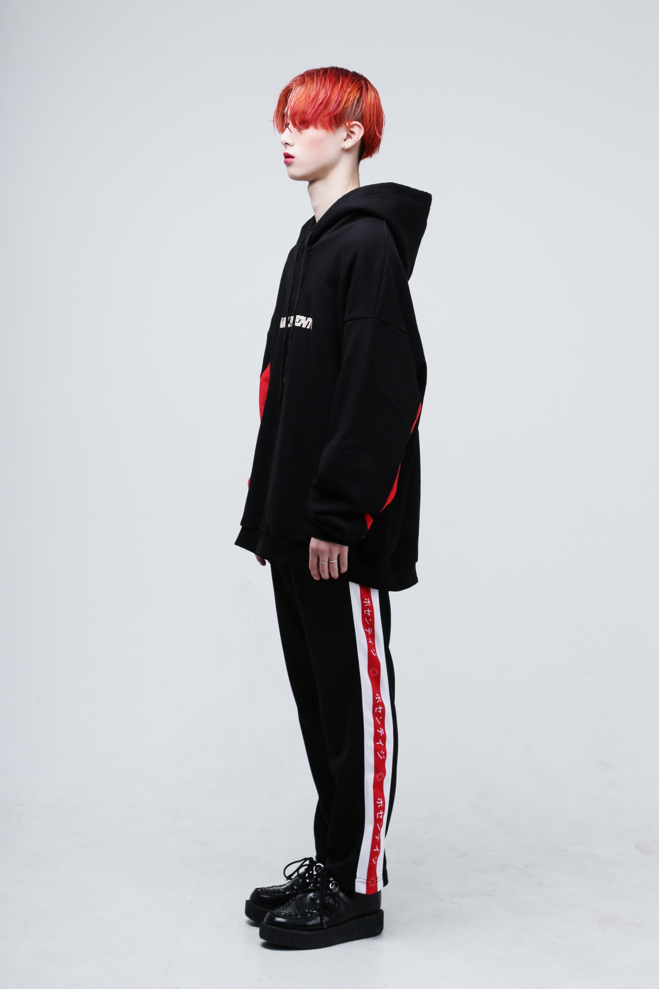 Japanese lettering line pants Red