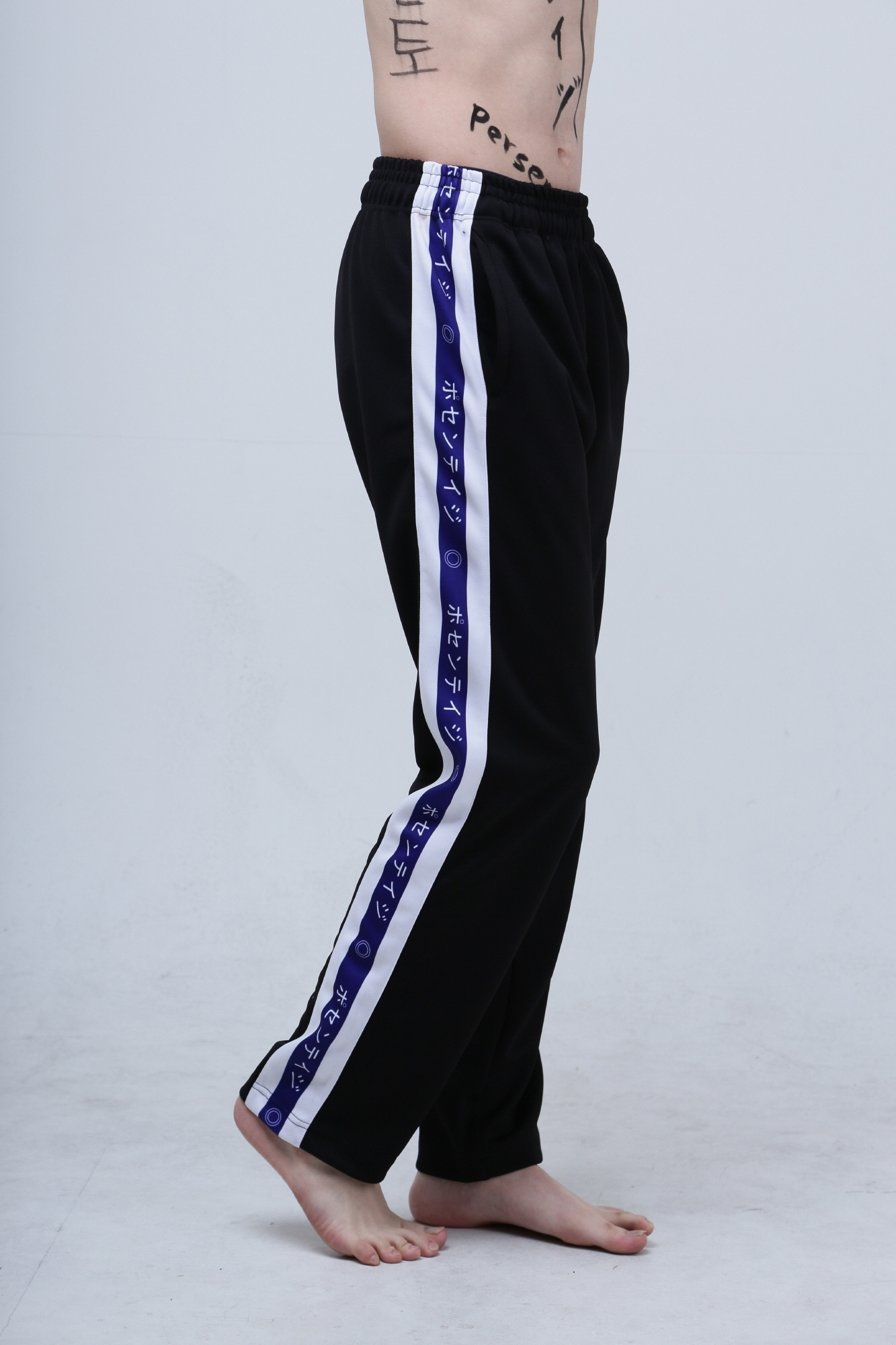 Japanese lettering line pants Blue